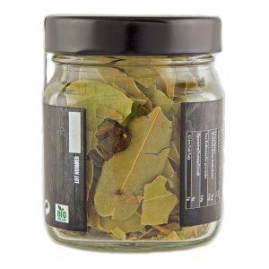 Βιολογικά φύλλα δάφνης iperos σε βαζάκι 25gr, η πίσω όψη του προϊόντος