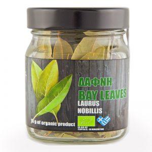 Βιολογικά φύλλα δάφνης iperos σε βαζάκι 25gr, η μπροστινή όψη του προϊόντος