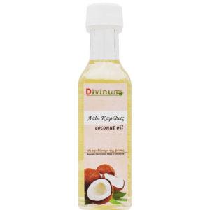 Μπουκαλάκι που περιέχει 100ml λάδι καρύδας της εταιρίας divinum