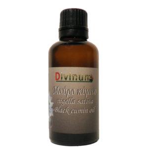 Μπουκαλάκι που περιέχει 50ml λάδι από μαύρο κύμινο της εταιρίας divinum