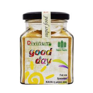 """Μείγμα υπερτροφών """"good day"""" σε σκόνη μέσα σε τετράγωνο βαζάκι της εταιρείας divinum, ζυγίζει 120gr."""