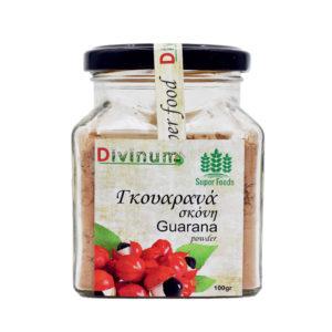 Γκουαρανά σε σκόνη μέσα σε τετράγωνο βαζάκι της εταιρείας divinum, ζυγίζει 100gr.