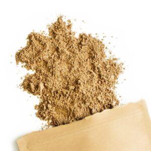Εικονίζεται η σκόνη του γανόδερμα που έχει αυτό το ανοιχτό καφέ χρωματισμό