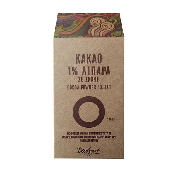 Κακάο 1% λιπαρά σε χάρτινη συσκευασία ανοιχτού καφέ χρώματος με πολύχρωμα σχέδια στα πλάγια