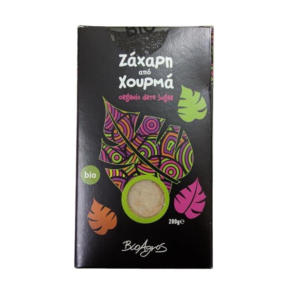 Ζάχαρη από χουρμά βιολογικό 200gr σε χάρτινο ορθογώνιο κουτί μαύρου χρώματος με πράσινα, ροζ και μωβ σχέδια