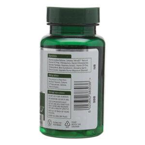Βιταμίνη K2 100μg της Natures Aid με βιταμίνη D3 σε πράσινο φιαλίδιο 10cm, η ετικέτα με τα συστατικά και τα έκδοχα