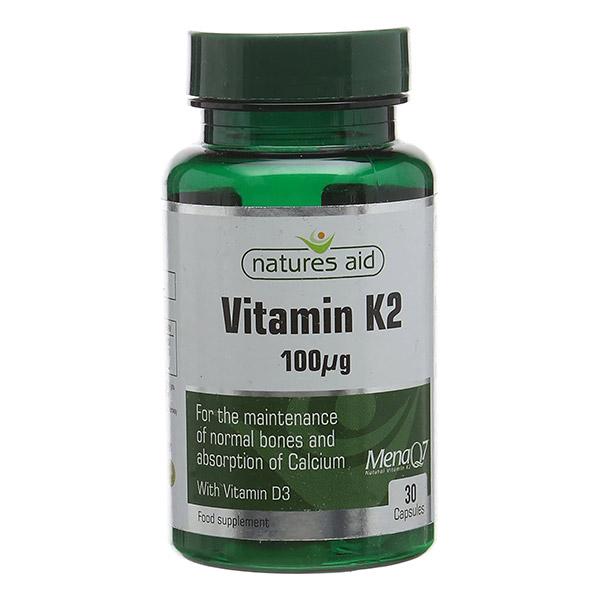 Βιταμίνη K2 100μg της Natures Aid με βιταμίνη D3 σε πράσινο φιαλίδιο 10cm