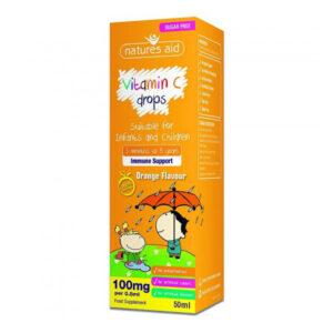 Η βιταμίνη C mini drops για παιδιά και βρέφη της natures aidστο κουτί της με ποστοκαλί χρώμα