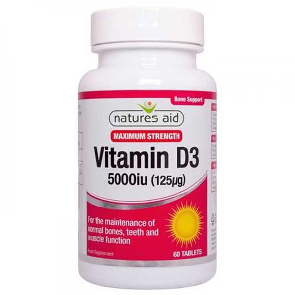 Βιταμίνη D3 5000iu 125μg 60 ταμπλέτες σε λευκό πλαστικό δοχείο με βιολετί ετικέτα