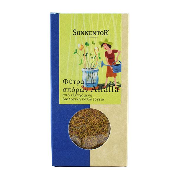 Φύτρα σπόρων alflalfa από βιολογική καλλιέργεια Sonnentor 120γρ σε χάρτινη συσκευασία που περιέχει τους σπόρους σε διάφανο σακουλάκι