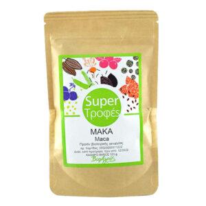 """Μάκα σε σκόνη βιολογική σε συσκευασία doypack 100gr, η μπροστά όψη με ετικέτα """"σούπερ τροφές"""""""