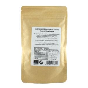 Μάκα σε σκόνη βιολογική σε συσκευασία doypack 100gr, η πίσω όψη με λευκή ετικέτα και πληροφορίες που αναφέρονται στην περιγραφή του προϊόντος