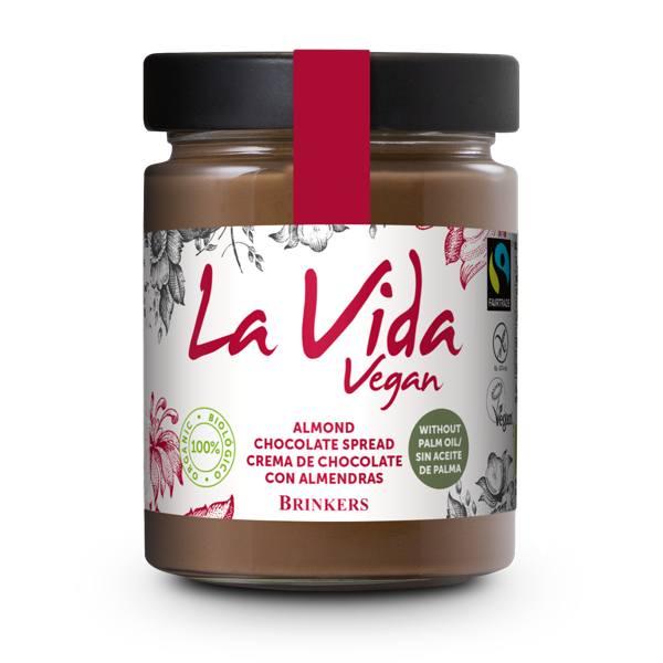 La Vida Vegan επάλειμμα σοκολάτας 270gr σε βαζάκι με λευκή ετικέτα