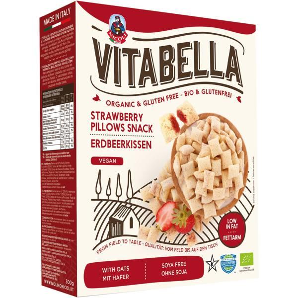 Μαξιλαράκια με γέμιση φράουλας vegan βιολογικα χ/γλ 300gr VitaBella σε κουτί με άσπρο και κόκκινο χρώμα