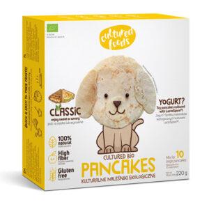 Μείγμα για κρέπες vegan Cultured Foods κλασσική γεύση 220gr σε χάρτινη συσκευασία με κίτρινα πλαίσια