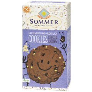 Μπισκότα vegan με σοκολάτα και κάσιους Sommer 125gr σε χάρτινη συσκευασία μπλέ χρώματος στην οποία εικονίζεται γελαστό μπισκότο