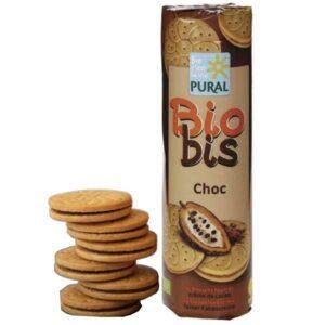 Μπισκότα vegan με γέμιση σοκολάτας βιολογικά Biobis Choc Pural 300gr στην φωτογραφία φαίνονται και τα μπισκότα δίπλα