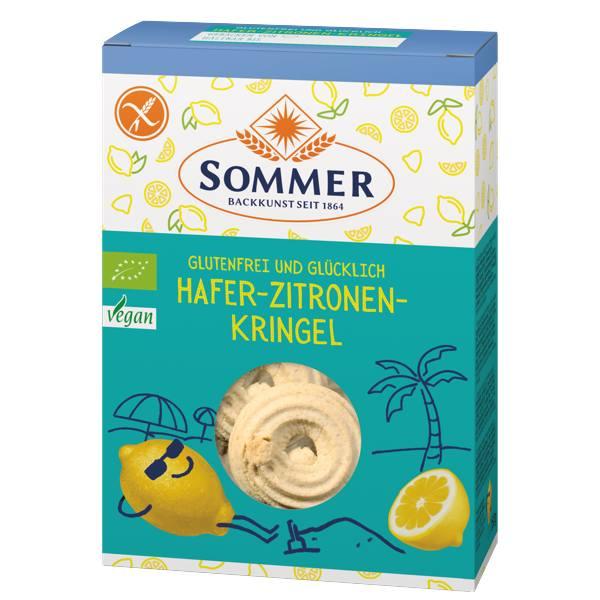 Vegan μπισκότα από βρώμη και λεμόνι βιολογικά 150gr Sommer σε χάρτινη συσκευασία γαλανού χρώματος