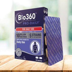 Προβιοτικά Pro-Daily Bio360 30 caps - Natures Aid σε μπλε συσκευασία με την καρτέλα με τις κάψουλες δίπλα