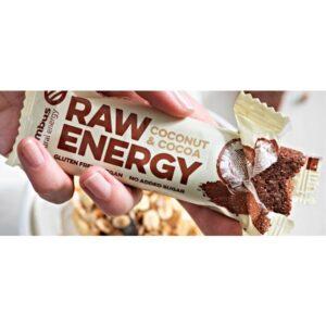 Μπάρα ενέργειας raw energy με καρύδα και κακάο 50gr - η συσκευασία ανοικτή