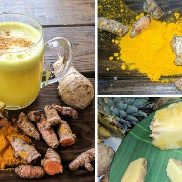 Κουρκουμάς, Ανανάς και τζίντζερ τεμαχισμένα και ολόκληρα, ένα ποτήρι με smoothie με τα φυτικά συστατικά που αναφέραμε