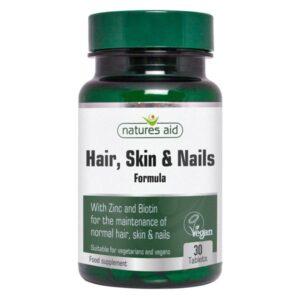 Μαλλιά - Δέρμα - Νύχια Hair Skin and Nails Formula Natures Aid 30 ταμπλέτες σε πράσινο πλαστικό ημιδιάφανο φαρμακευτικό μπουκαλάκι