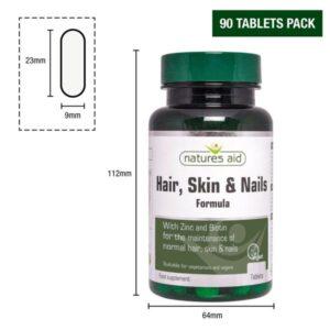 Μαλλιά - Δέρμα - Νύχια Hair Skin and Nails Formula Natures Aid 30 ταμπλέτες οι διαστάσεις του φιαλιδίου, 112mm ύψος, 64mm διάμετρος, 23mm μήκος δισκίου
