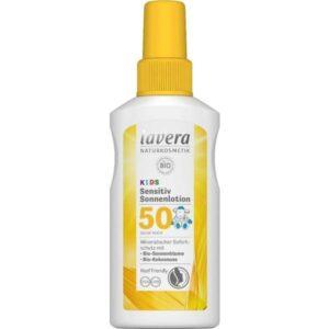 Παιδικό αντηλιακό SPF50 Lavera 100ml λευκή συσκευασία και κίτρινο καπάκι