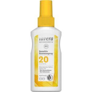 Αντηλιακό βιολογικό με δείκτη προστασίας SPF20 της Lavera σε λευκό μπουκαλάκι με κίτρινο καπάκι