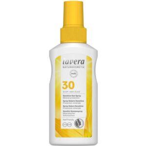 Αντηλιακό βιολογικό με δείκτη προστασίας SPF30 της Lavera σε λευκό μπουκαλάκι με κίτρινο καπάκι