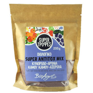 Super antitox mix κυνόροδο - αρώνια - καμού καμού - ασερόλα μείγμα αποτοξίνωσης βιολογικό Βιοαγρός 200gr σε συσκευασία doypack