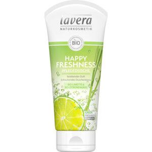 Αφρόλουτρο Happy Freshness βιολογικό με λάιμ & λεμονόχορτο Lavera 200ml σε λευκό σωληνάριο με πράσινη ετικέτα