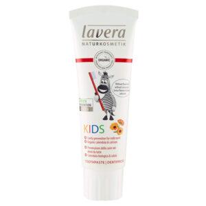 Παιδική οδοντόκρεμα (χωρίς φθόριο) με βιολογική καλέντουλα & ασβέστιο Lavera Basis Sensitiv 75ml
