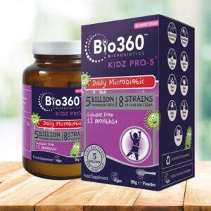 Προβιοτικά για παιδιά Kidz PRO-5 σε σκόνη Natures Aid 90gr το μπουκαλάκι που περιέχει και δίπλα το κουτί