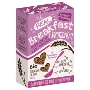 Δημητριακά με χαρουπόμελο βιολογικά Real Breakfast Βιοαγρός 350gr στο κουτί του μωβ χρώματος