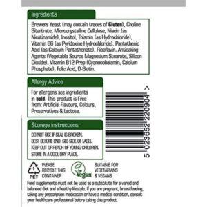 Βιταμίνες του συμπλέγματος B complex Natures Aid 90 δισκία η ετικέτα με τα συστατικά