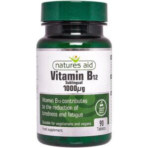 Βιταμίνη B12 υπογλώσσιο 1000μg Natures Aid 90 δισκία σε πράσινο σκούρο μπουκαλάκι με λευκή ετικέτα με πράσινα στοιχεία