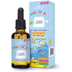 DHA (Ωμέγα-3 λιπαρά) για βρέφη & παιδιά (3μην - 5χρ) mini drops Natures Aid 50ml σε γαλάζια συσκευασία