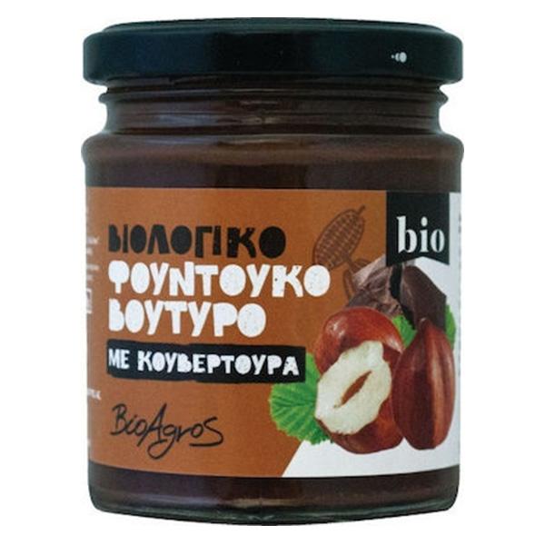 Φουντουκόκρεμα με Σοκολάτα Κουβερτούρα Βιοαγρός 180gr
