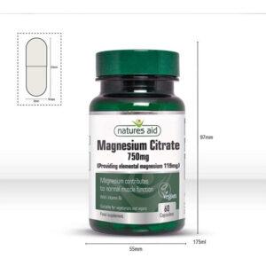 Μαγνήσιο magnesium citrate 750mg 60 κάψουλες το μέγεθος του φιαλιδίου