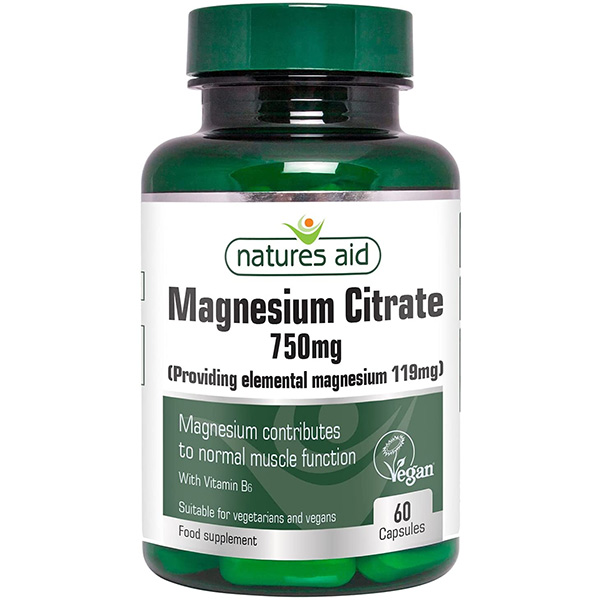 Μαγνήσιο magnesium citrate 750mg 60 κάψουλες σε πράσινο πλαστικό φιαλίδιο